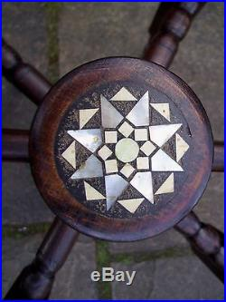 Superb Islamic Antique Inlaid Folding Side Table With Brass Dodecagon Tray