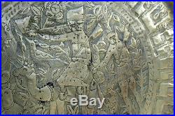 Superb Large Antique Judaica Extraordinary Sephardic-HebrewBrass TrayJewish