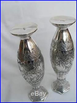 Superb Pair of 20thC Middle Eastern Solid Silver Hand Chased & Engraved Vases