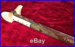 Sword Yatagan. Steel Chiselling. Ornamentation Gold. Ottoman Empire. Circa1800