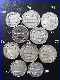 TEN Silver ABBASID dirhams all 1,200+years OLD Ancient Islamic Arabic Kufic