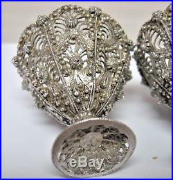 Three 19th Century Ottoman Granulated Silver Filigree Zarf Cup Holders