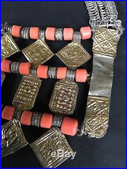 Three-Tiered Omani Bedouin Shubqah Necklace with Silver, Gold-Leaf & Coral