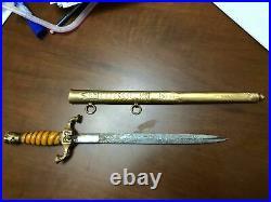 Turkish Ottoman Antique Ww1 Naval Ceremonial Dress Dagger Dirk, Short Sword