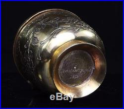 Turkish Ottoman Tombak Sugar Pot / Cup & Cover dated Constantinople 1845