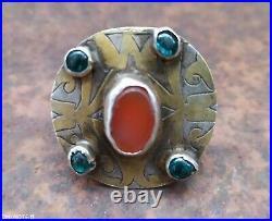 Turkoman turkmen silver ring from antique silver element Gilding glass carnelian