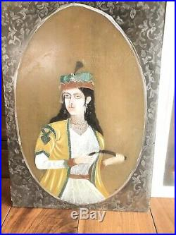 Two Antique Or Vintage Indian Islamic Arabic Ghajare Portrait Painting On Glass