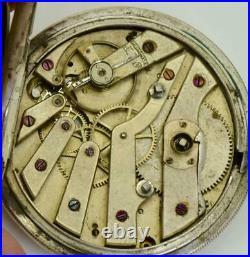 UNIQUE antique Ottoman silver 2 time zones Captain Dumont Guinand watch. Tughra