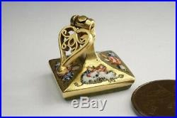 UNUSUAL ANTIQUE PERSIAN 18K GOLD ENAMEL ARABIC INTAGLIO SEAL FOB / CHARM c1824
