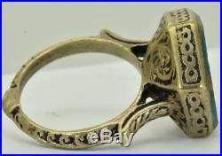 Unique antique 18th Century Ottoman silver&engraved hard stone red wax seal ring