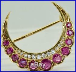 Unique antique Ottoman Crescent Moon 9k gold, Diamond&Rubies Brooch/Turban pin