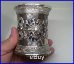 Unusual Antique Heavy Solid Silver & Enamel Ottoman Beaker 201 Grams