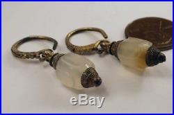 Unusual Early Antique Middle Eastern Silver Gilt Agate Drop Earrings