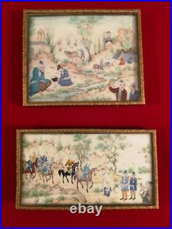VERY FINE PAIR OF LATE VICTORIAN SIGNED & FRAMED PERSIAN PAINTED PANELS c. 1895