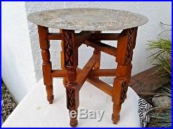 VINTAGE MIDDLE EASTERN DECORATIVE FOLDING COFFEE TABLE with BRASS TRAY TOP