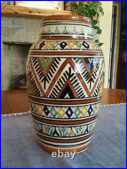 Vase 19th C Antique Safi Morroco Persian Middle East Iznik Islamic Polychrome