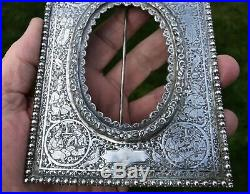 Very Rare Pair Antique Persian Silver Qajar Photo Frames. Isfahan. 1910