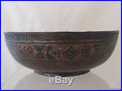 Very Unusual Islamic Turkish Early Ottoman Empire Niello Tinned Copper Bowl