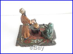 Vienna Cold Painted Bronze Depicting Arab Drinking Coffee on Rug Bergman