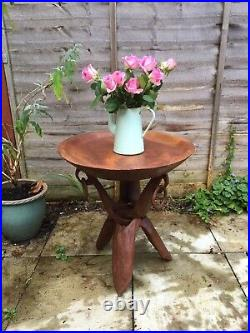 Vintage African Wooden Heavy Table Folding Carved Wood Legs Tray Plant Stand