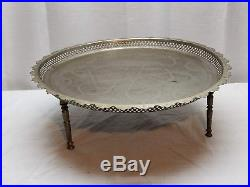 Vintage Antique Carved Scroll White Metal Art Brass Bronze Tin Coffee Table Tray