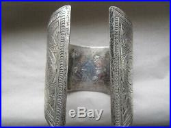 Vintage Antique Large Heavy Hallmarked Silver Berber Bedouin Cuff Bracelet 271g