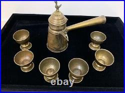 Vintage Antique Turkish Moroccan Moorish Solid Brass Coffee Tea Set Middle East