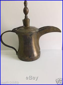 Vintage Bedouin Dallah Coffee Arabic Pot Antique Antique Brass Coppera rare size
