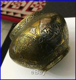 Vintage Brass Copper Silver Overlay Arabic Islamic Mamluk Arabic Vase Pot