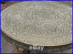 Vintage Brass Islamic Cairoware Circular Coffee Table, Folding Legs