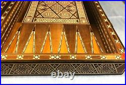 Vintage Chess & Backgammon Middle Eastern Premium Inlaid Wood Game Board & Box