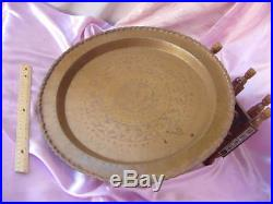 Vintage Egyptian Tea Table Etched Design Brass Tray Top Inlaid Arab Wood Legs Nr