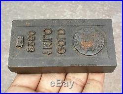 Vintage Emirates Gold Co. 1 KG 9950 Ego Gold Bar Printing Iron Dye, Uae (118)