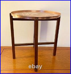 Vintage Engraved Brass Copper Top Table Folding Wooden Legs Sides 17.5 Ins Tall