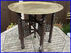 Vintage Indian Benares Brass Folding Campaign Table