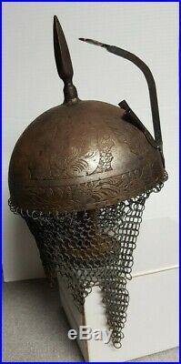 Vintage Indo Persian Islamic Ottoman Kulah Khud Armor Helmet etched Antique