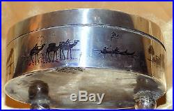 Vintage Iraqi Mandean Marsh Arab Islamic Euphrates Scene Solid Silver Niello Box