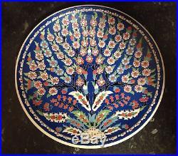 Vintage Islamic Turkish Kutahya Pottery Painted Charger