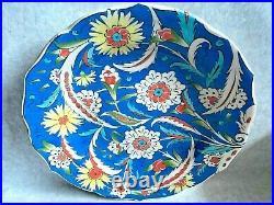 Vintage Iznik Kutahya Pottery Painted Large Wall Charger Signed