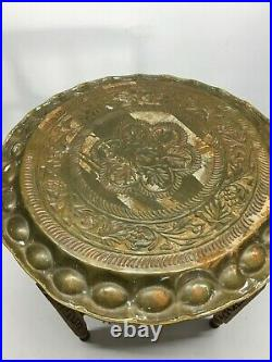 Vintage Middle Eastern Brass Tray with Carved Wood Base Table
