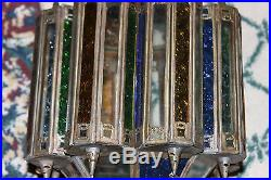 Vintage Middle Eastern India Multi Color Glass Lamp Candle Holder-Tin Metal-LQQK