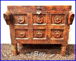 Vintage Middle Eastern or Chinese Dowry Chest With Horse Carving & Brass Decor