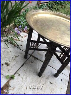 Vintage Moroccan / Middle Eastern Folding Wood Table Legs Engraved Brass Tray
