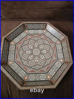 Vintage Moroccan Wooden Decorative Tray