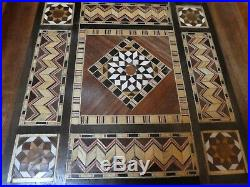 Vintage Mother of pearl inlaid marquetry arab Islamic backgammon chess box VGC