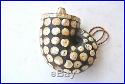 Vintage Ottoman indian islamic wooden pearl powder flask muzzle loader barutdan