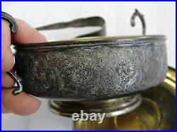 Vintage Persian 840 Silver Engraved Covered Dish Sugar Bowl with original tongs