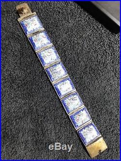 Vintage Persian Hand Painted Enamel Panel Bracelet