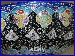 Vintage Persian Islamic Enamel Metal Footed Bowl With Vibrant Colors