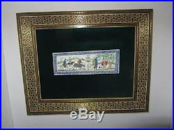 Vintage Persian Miniature In Wooden Micro Mosaic Frame Painting
